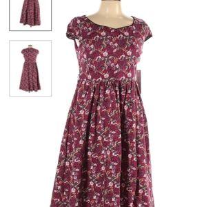 Lindy Bop maroon pink red floral dress